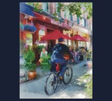 Hoboken NJ - Riding Past the Cafe One Piece - Short Sleeve