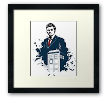 Dr. Who - Doctor Who - 10th Doctor w/ Tardis Framed Print