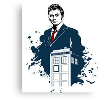 Dr. Who - Doctor Who - 10th Doctor w/ Tardis Canvas Print