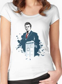 Dr. Who - Doctor Who - 10th Doctor w/ Tardis Women's Fitted Scoop T-Shirt