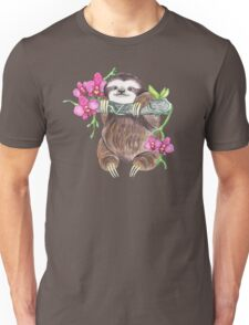 Happy Sloth with orchids Unisex T-Shirt