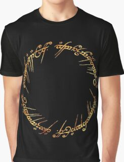 J. R. R. Tolkien - The Lord Of The Rings - Ring Inscriprtion - Flames Graphic T-Shirt