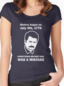 Ron Swanson History July 4 1776 (dark) Women's Fitted Scoop T-Shirt