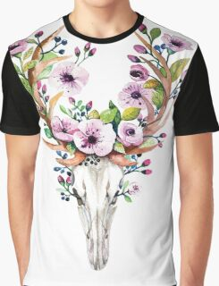 Boho watercolour skull with purple flower crown Graphic T-Shirt