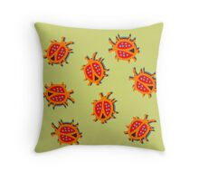 Happy and cute ladybird  Throw Pillow