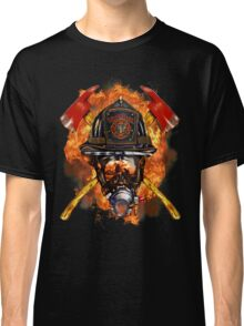 Volunteer firefighter in the fire Classic T-Shirt