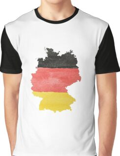 Germany Country Outline in Black, Red and Gold Flag Colors Graphic T-Shirt