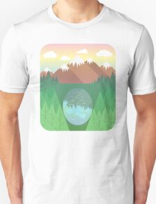 Mountain lake and forest Unisex T-Shirt