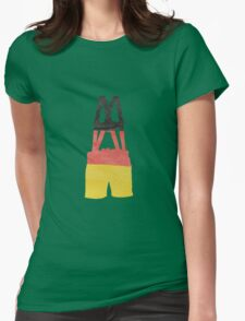 Lederhosen German Leather Breeches in German Flag Colors Womens Fitted T-Shirt