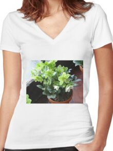 Green Blossoms Women's Fitted V-Neck T-Shirt