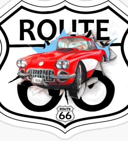Vintage Route 66 US historic gifts red, white, black Sticker