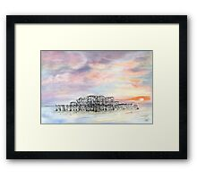West Pier in the Snow Framed Print