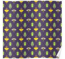 Insecta Geometrica - Geometric Insects Pattern Poster