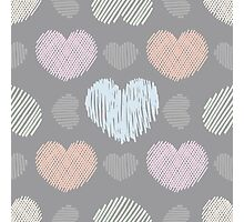 Doodle hearts seamless pattern Photographic Print