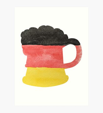 Stein or Mug of Beer in Water Colors of German Flag Art Print