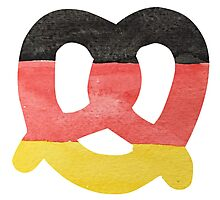 Pretzel in Hand-Painted Water Colors of German Flag Photographic Print