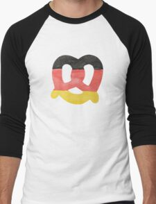 Pretzel in Hand-Painted Water Colors of German Flag Men's Baseball ¾ T-Shirt
