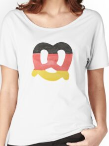 Pretzel in Hand-Painted Water Colors of German Flag Women's Relaxed Fit T-Shirt