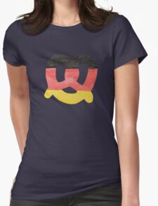 Pretzel in Hand-Painted Water Colors of German Flag Womens Fitted T-Shirt