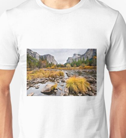 El Capitan and the Merced River in the Fall Unisex T-Shirt