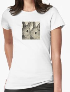 Wetnose Rabbits Sepia Womens Fitted T-Shirt