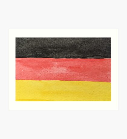 Germany Flag in Hand-Painted Water Colors Black, Red and Gold Art Print