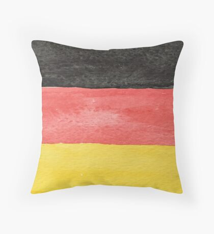 Germany Flag in Hand-Painted Water Colors Black, Red and Gold Throw Pillow