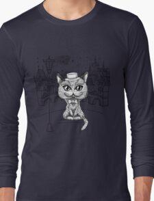 British cat hipster in Prague Long Sleeve T-Shirt