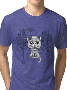 British cat hipster in Prague Tri-blend T-Shirt