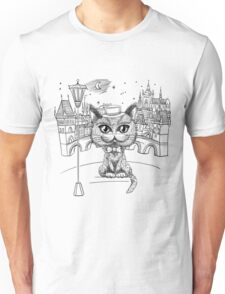 British cat hipster in Prague Unisex T-Shirt