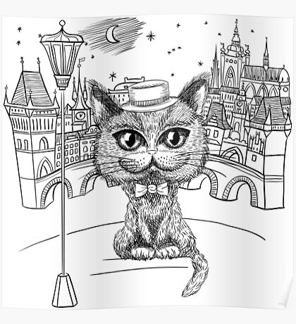 British cat hipster in Prague Poster