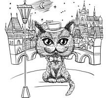 British cat hipster in Prague Photographic Print