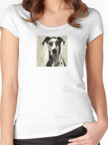 Wetnose Great Dane Sepia Women's Fitted Scoop T-Shirt
