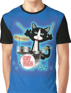 Cat Rock Drums Graphic T-Shirt