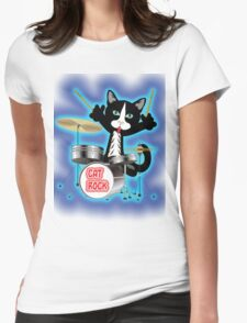 Cat Rock Drums Womens Fitted T-Shirt