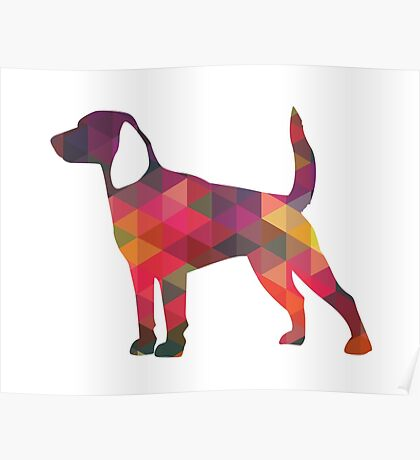 Beagle Hunting Hound Dog Colorful Geometric Pattern Silhouette Poster