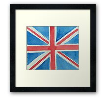 Union Jack UK Flag in Water Colors Red, White and Blue Framed Print