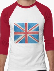 Union Jack UK Flag in Water Colors Red, White and Blue Men's Baseball ¾ T-Shirt