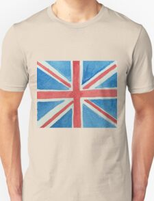 Union Jack UK Flag in Water Colors Red, White and Blue T-Shirt