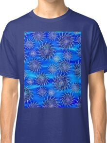 Abstract Spinning Stars Mixed Blue Pattern Classic T-Shirt