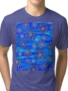 Abstract Spinning Stars Mixed Blue Pattern Tri-blend T-Shirt
