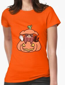Jack O' Lantern Sloth Womens Fitted T-Shirt
