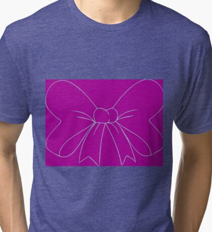 Purple and Robins Egg Blue Bow Tri-blend T-Shirt