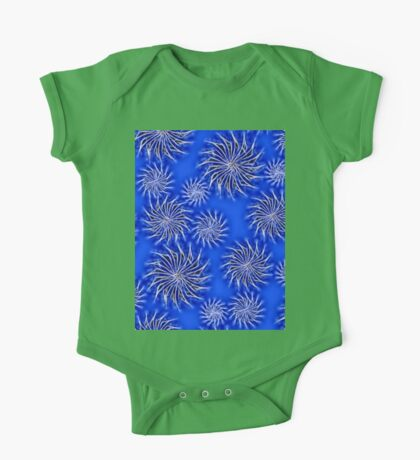 Abstract Spinning Stars Blue Pattern One Piece - Short Sleeve
