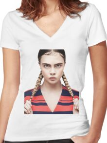 cara braid Women's Fitted V-Neck T-Shirt