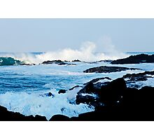 Hawaiian Coast Ocean Waves Rocky Beach Tropical Landscape Photographic Print