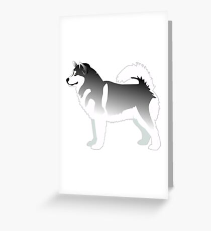 Alaskan Malamute Black Basic Breed Silhouette Design Greeting Card