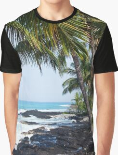 Hawaiian Coast Ocean Waves Rocky Beach Tropical Landscape Graphic T-Shirt