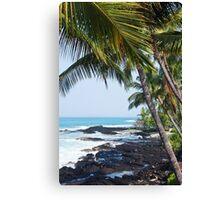 Hawaiian Coast Ocean Waves Rocky Beach Tropical Landscape Canvas Print