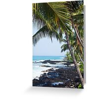 Hawaiian Coast Ocean Waves Rocky Beach Tropical Landscape Greeting Card